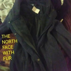 North face with fur coat